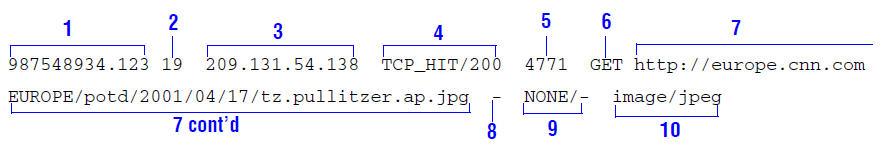 Sample log entry in squid.log